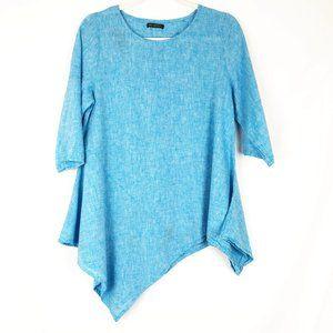 For Cynthia Tunic Top Asymmetrical Blue Linen S